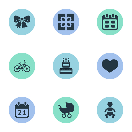 Vector Illustration Set Of Simple Celebration Icons. Elements Baby Carriage, Special Day, Soul And Other Synonyms Cake, Bicycle And Baby.