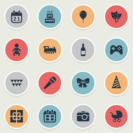 Vector Illustration Set Of Simple Birthday Icons. Elements Baby Carriage, Box, Mask And Other Synonyms Carriage, Photo And Camera. Illustration