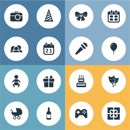 Vector Illustration Set Of Simple Celebration Icons. Elements Mask, Infant, Domestic And Other Synonyms Date, Prize And History. Illustration
