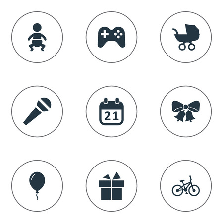 Vector Illustration Set Of Simple Birthday Icons. Elements Ribbon, Special Day, Infant And Other Synonyms Infant, Speech And Bike.
