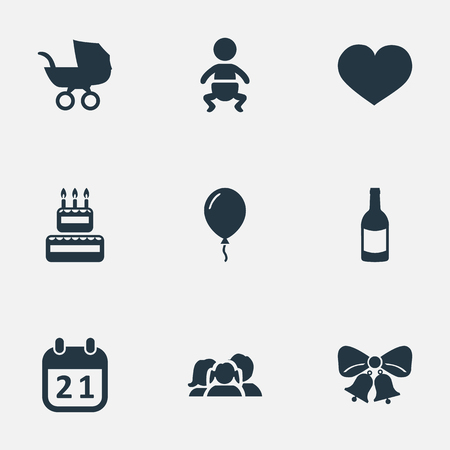 Vector Illustration Set Of Simple Birthday Icons. Elements Baby Carriage, Soul, Infant And Other Synonyms Bells, Carriage And Sweetmeat.