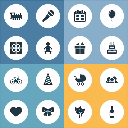 Vector Illustration Set Of Simple Celebration Icons. Elements Aerostat, Confectionery, Soul And Other Synonyms Steam, Family And Bicycle. Illustration