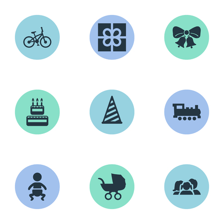Vector Illustration Set Of Simple Celebration Icons. Elements Box, Resonate, Baby Carriage And Other Synonyms Sweetmeat, Bells And Confectionery.