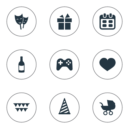 Vector Illustration Set Of Simple Holiday Icons. Elements Mask, Days, Beverage And Other Synonyms Gift, Days And Heart.