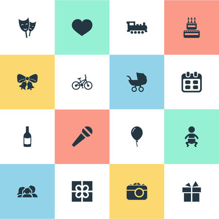 Vector Illustration Set Of Simple Celebration Icons. Elements Days, Aerostat, Domestic And Other Synonyms Sweetmeat, Bike And Soul.