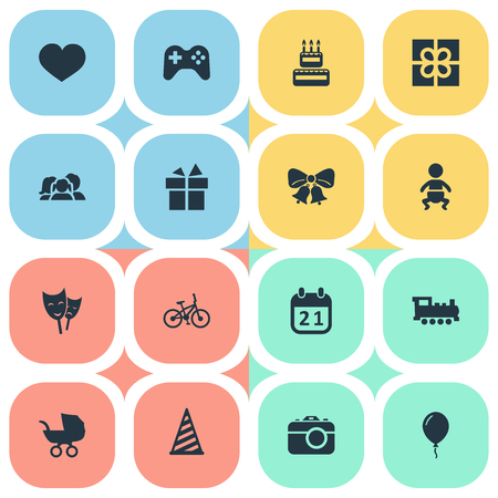 Vector Illustration Set Of Simple Celebration Icons. Elements Mask, Infant, Confectionery And Other Synonyms Play, Sweetmeat And Game.