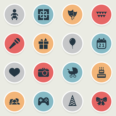 Vector Illustration Set Of Simple Holiday Icons. Elements Speech, Mask, Aerostat And Other Synonyms Photography, Party And Actor. Illustration