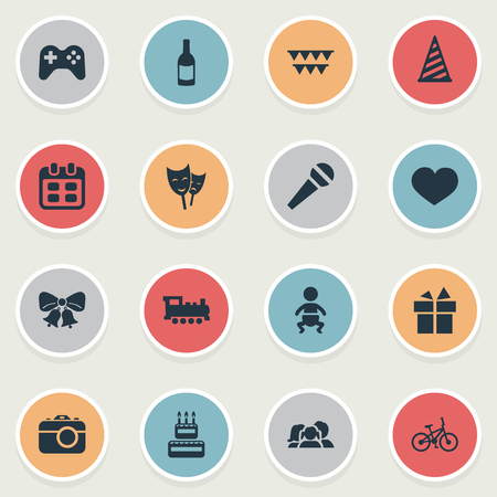 Vector Illustration Set Of Simple Birthday Icons. Elements Cap, Game, Resonate And Other Synonyms Joystick, Bells And Bike.