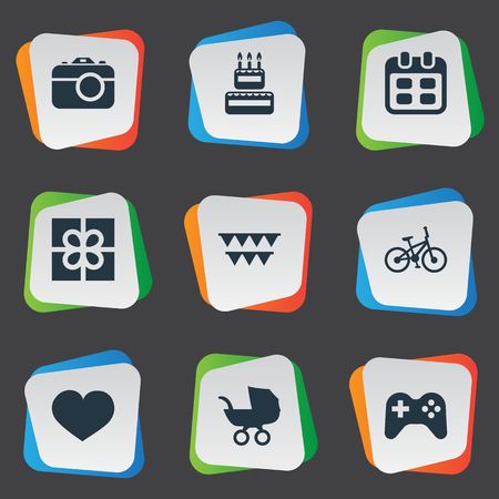 Vector Illustration Set Of Simple Celebration Icons. Elements Box, Game, Camera And Other Synonyms Gift, Photo And Sport. Stock Photo