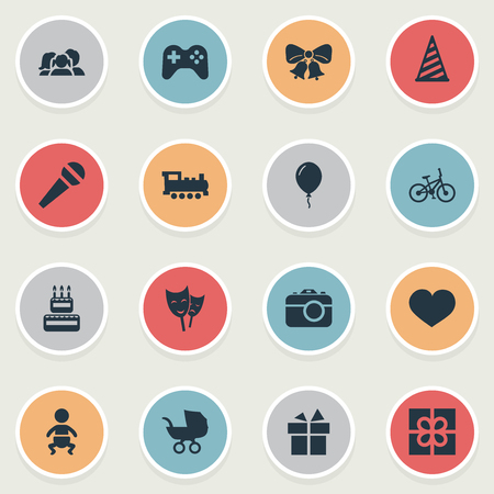 Vector Illustration Set Of Simple Birthday Icons. Elements Cap, Game, Ribbon And Other Synonyms Present, Joystick And Sweetmeat.
