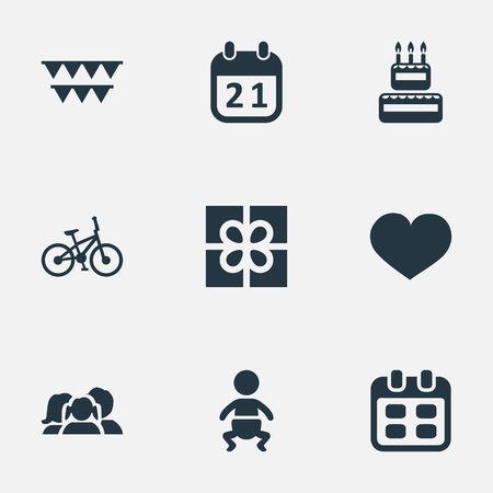 Vector Illustration Set Of Simple Celebration Icons. Elements Decorations;, Soul, Infant And Other Synonyms Decorations, Box And Feelings.