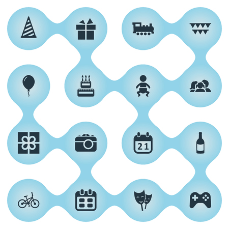 Vector Illustration Set Of Simple Birthday Icons. Elements Train, Decorations;, Confectionery And Other Synonyms Train, Locomotive And Domestic. Stock Photo