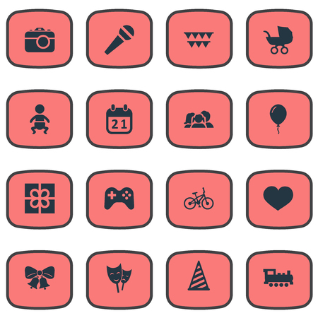 chronology: Vector Illustration Set Of Simple Holiday Icons. Elements Box, Mask, Resonate And Other Synonyms Party, Calendar And Soul.