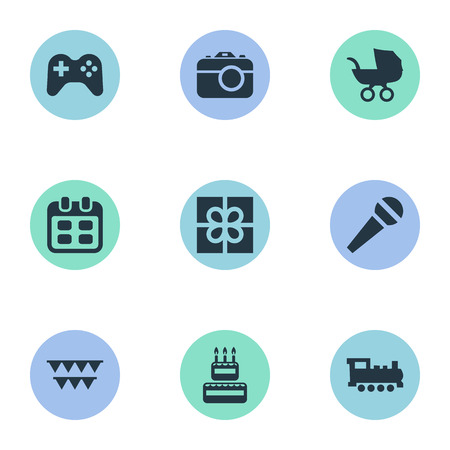 chronology: Vector Illustration Set Of Simple Birthday Icons. Elements Box, Baby Carriage, Days And Other Synonyms Voice, Present And Camera.