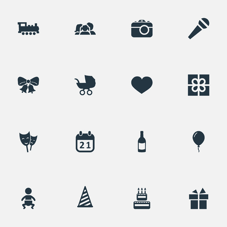 Vector Illustration Set Of Simple Birthday Icons. Elements Resonate, Infant, Cap And Other Synonyms Ribbon, Resonate And Fizz.