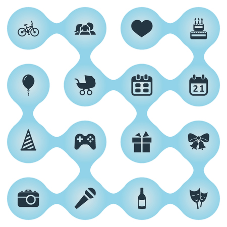Vector Illustration Set Of Simple Celebration Icons. Elements Special Day, Baby Carriage, Ribbon And Other Synonyms Soul, Bicycle And Mask. Illustration
