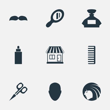 Vector illustratie Set van eenvoudige kapper pictogrammen. Elementen Hackle, supermarkt, Container en andere synoniemenschaar, Container en supermarkt.