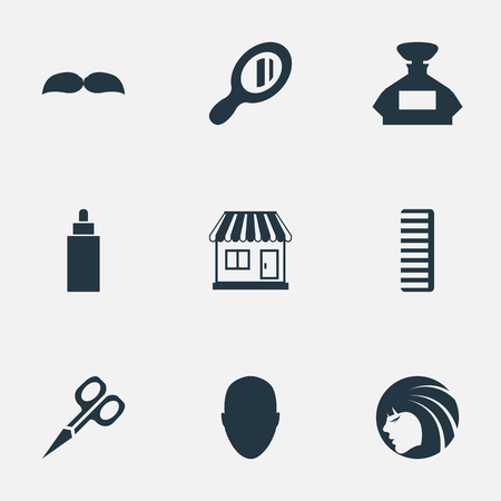 Vector Illustration Set Of Simple Hairdresser Icons. Elements Hackle, Supermarket, Container And Other Synonyms Scissors, Container And Supermarket.