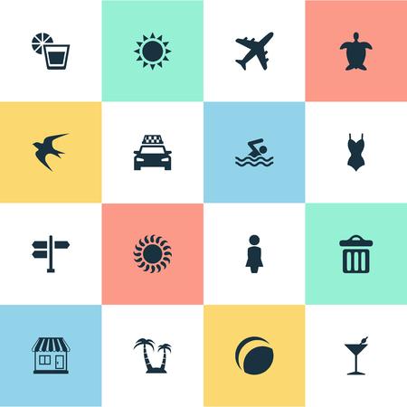 シンプルなビーチ アイコンのベクター イラスト セット。要素亀、飛行機、パーム、他の同義語パーム タクシーと車。