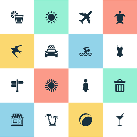 Vector Illustration Set Of Simple Beach Icons. Elements Tortoise, Airplane, Palm And Other Synonyms Palm, Taxi And Car. Ilustrace