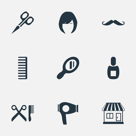 Vector Illustration Set Of Simple Beautician Icons. Elements Hair, Cut Tool, Barber Tools And Other Synonyms Hackle, Shop And Hairdryer.