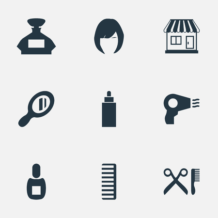 Vector Illustration Set Of Simple Hairdresser Icons. Elements Reflector, Hackle, Hair And Other Synonyms Shop, Scissors And Hair.