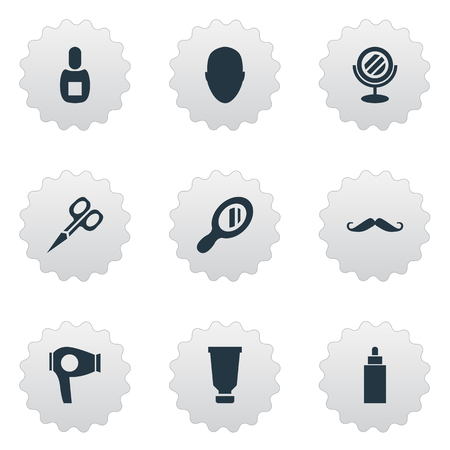 Vector Illustration Set Of Simple Beautician Icons. Elements Flask, Reflector, Cut Tool And Other Synonyms Flask, Head And Container.