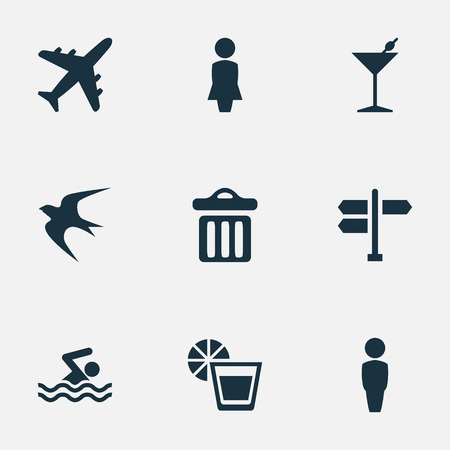 Vector Illustration Set Of Simple Beach Icons. Elements Swallow, Beverage, Crossroad And Other Synonyms Seagull, Freedom And Dustbin.
