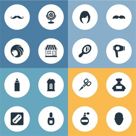 Vector illustratie Set van eenvoudige kapper pictogrammen. Elementen Whiskers, Human, Drying Machine and Other Synoniemen Man, Smell And Looking-Glass.