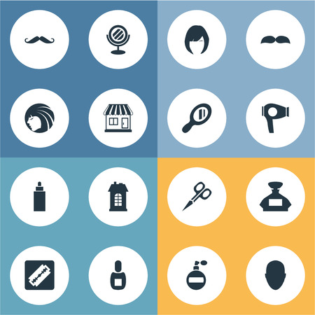 Vector Illustration Set Of Simple Hairdresser Icons. Elements Whiskers, Human, Drying Machine And Other Synonyms Man, Smell And Looking-Glass.