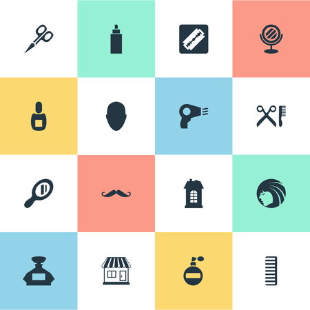 Vector Illustration Set Of Simple Barber Icons. Elements Human, Supermarket, Scent And Other Synonyms Machine, Scissors And Bottle.
