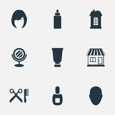 Vector Illustration Set Of Simple Hairdresser Icons. Elements Barber Tools, Container, Human And Other Synonyms Store, Construction And Shop.