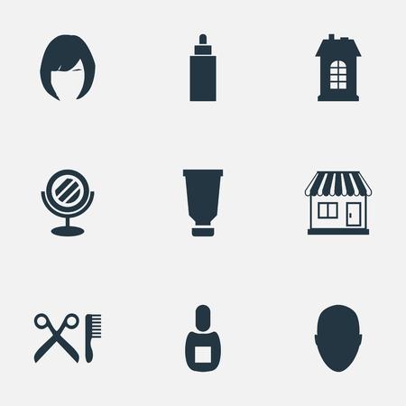 Vectorillustratie Set Van Eenvoudige Kappers Pictogrammen. Elements Barber Tools, Container, Human and Other Synonyms Store, Constructie En Winkel.
