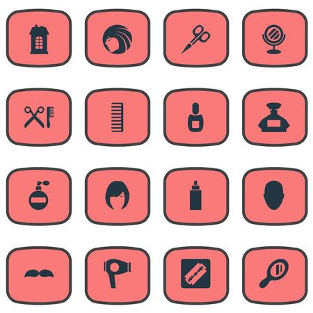 Vector illustratie Set van eenvoudige schoonheidsspecialist pictogrammen. Elements Peeper, Glamour Lady, Cut Tool and Other Synoniemen Drying, Woman And Girl.