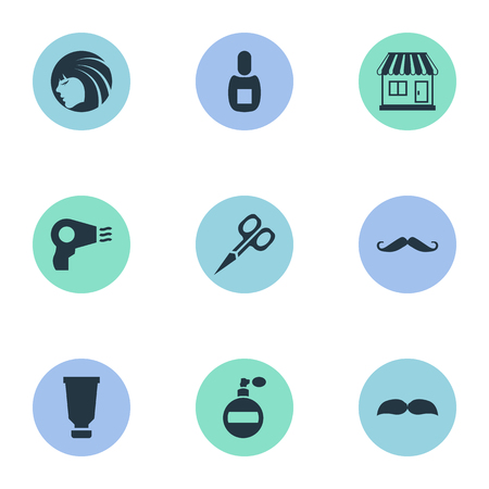 Vector Illustration Set Of Simple Beautician Icons. Elements Supermarket, Flask, Glamour Lady And Other Synonyms Smell, Shop And Hairdryer.