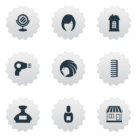Vector Illustration Set Of Simple Hairdresser Icons. Elements Blow Dryer, Glamour Lady, Scent And Other Synonyms Building, Shop And Perfume.