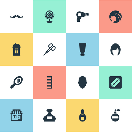 Vector Illustration Set Of Simple Hairdresser Icons. Elements Reflector, Shaver, Flask And Other Synonyms Beautiful, Store And Supermarket.
