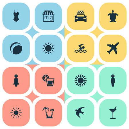 Vector Illustration Set Of Simple Seaside Icons. Elements Store, Hot, Sunlight And Other Synonyms Taxi, Adventure And Missus.