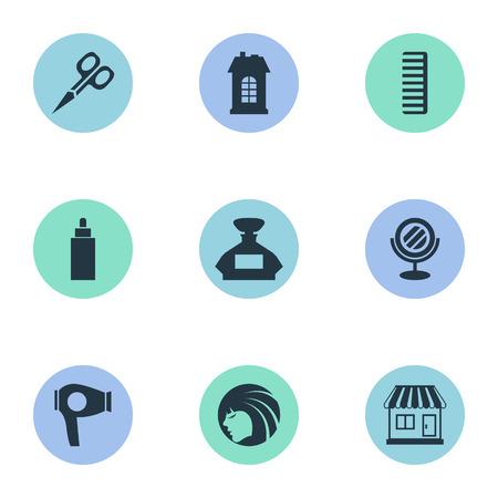 Vector illustratie Set van eenvoudige kapper pictogrammen. Elementen die Machine, Gebouw, Container en Andere Synoniemenbuis, de Bouw en Container drogen. Stock Illustratie