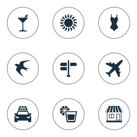 Vector Illustration Set Of Simple Beach Icons. Elements Cocktail, Store, Crossroad And Other Synonyms Party, Bar And Cab.