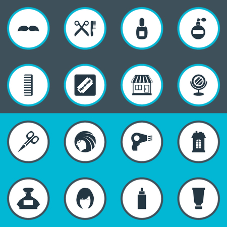 Vector Illustration Set Of Simple Beautician Icons. Elements Beard, Flask, Supermarket And Other Synonyms Tube, Whiskers And Smell.