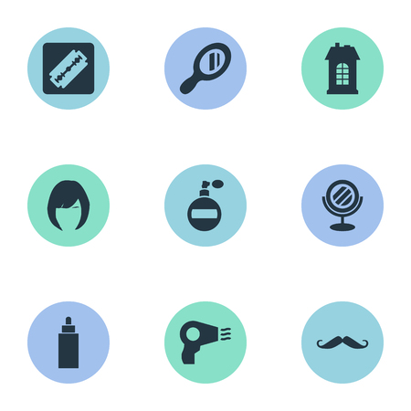 Vector Illustration Set Of Simple Barber Icons. Elements Premises, Blow Dryer, Reflector And Other Synonyms Tube, Man And Tool.