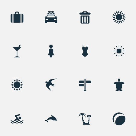 Vector Illustration Set Of Simple Seaside Icons. Elements Beach Games, Swimming Man, Woman And Other Synonyms Sunlight, Madame And Direction. Illustration