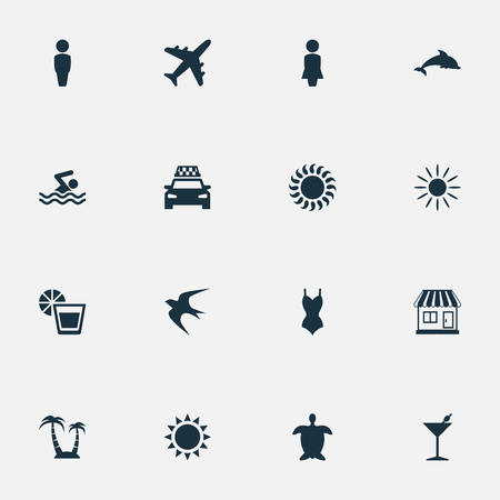 Vector Illustration Set Of Simple Beach Icons. Elements Taxi, Woman, Sun And Other Synonyms Party, Holiday And Swallow. Illustration