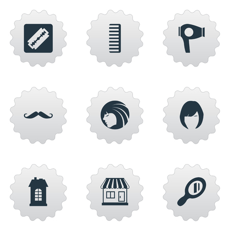 Vector Illustration Set Of Simple Hairdresser Icons. Elements Shaver, Whiskers, Drying Machine And Other Synonyms Hairdryer, Store And Razor. Illustration
