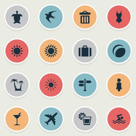 Vector Illustration Set Of Simple Seaside Icons. Elements Cocktail, Hot, Woman And Other Synonyms Island, Trip And Summer. Illustration