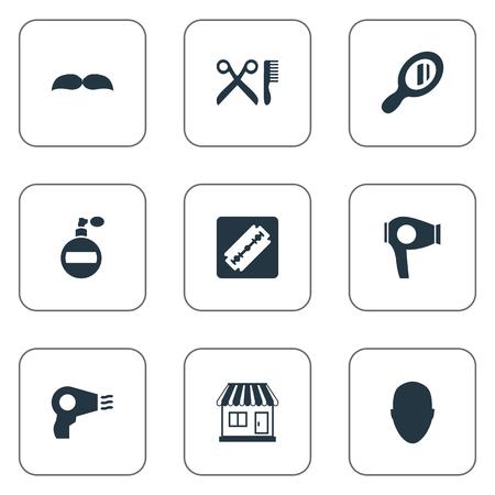 Vector illustratie Set van eenvoudige schoonheidsspecialist pictogrammen. Elements Reflector, Beard, Shaver And Other Synoniemen Smell, Shop And Aroma. Stock Illustratie