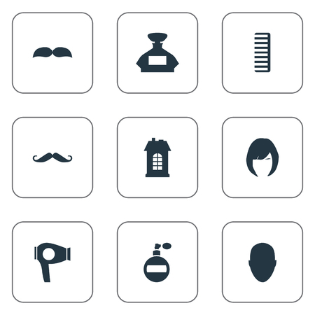 Vector Illustration Set Of Simple Beautician Icons. Elements Whiskers, Premises, Scent And Other Synonyms Odor, Comb And Whiskers. Фото со стока - 78490087