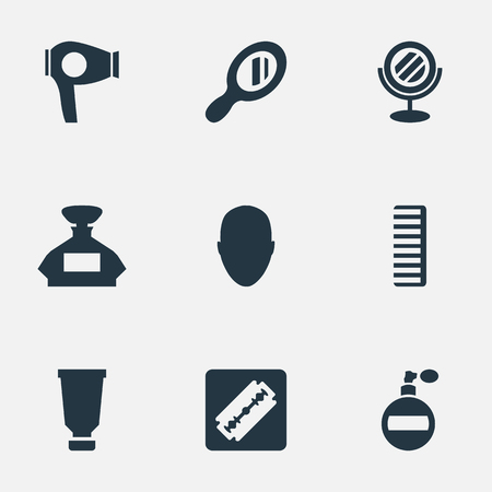 Vector Illustration Set Of Simple Hairdresser Icons. Elements Peeper, Reflector, Drying Machine And Other Synonyms Shaver, Scent And Drying.