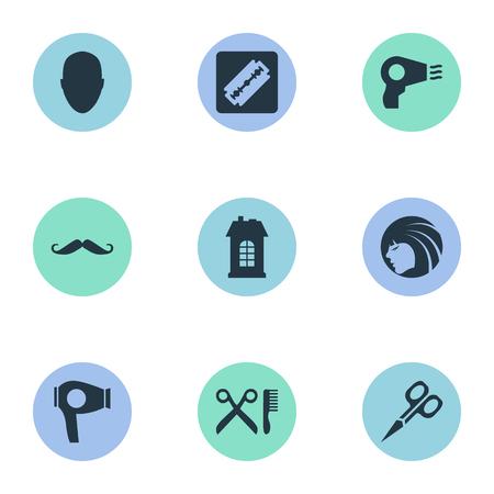 Vector illustratie Set van eenvoudige schoonheidsspecialist pictogrammen. Elementen, scheerapparaat, droogmachine en andere synoniemen Haar, snor en gereedschap.